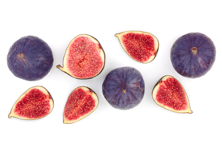 fig fruits isolated on white background with copy space for your text. Top view. Flat lay pattern 写真素材