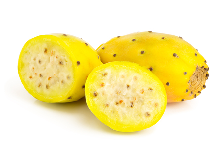 yellow prickly pear or opuntia with half isolated on a white background Stock Photo