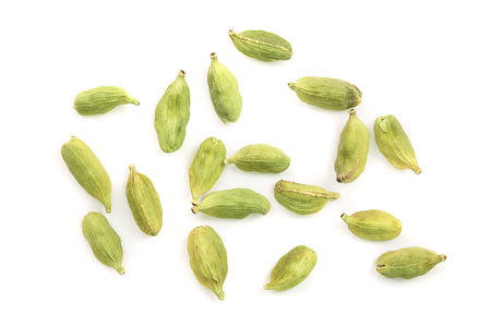 Green cardamom seeds isolated on white background. Top view. Flat lay 版權商用圖片