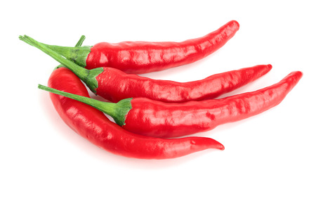 red hot chili peppers isolated on white background Stock Photo