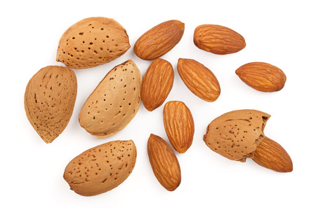 almonds isolated on white background. Top view. Flat lay pattern Stock Photo - 112898639