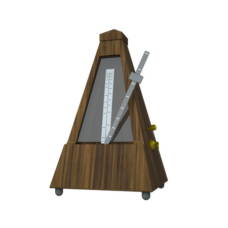 3D rendering illustration metronome on white background. 写真素材