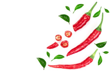 red hot chili peppers isolated on white background. Top view. Flat lay pattern