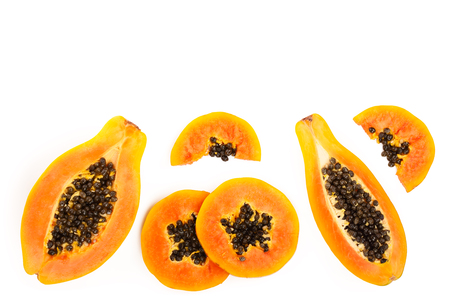 ripe slice papaya isolated on a white background with copy space for your text. Top view. Flat lay 免版税图像