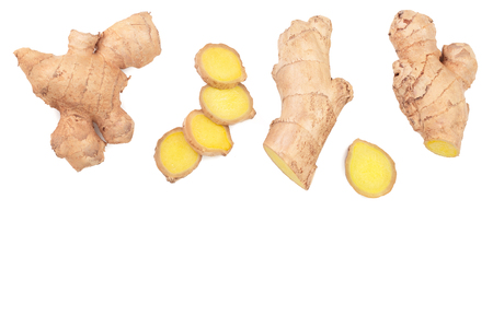 fresh Ginger root and slice isolated on white background with copy space for your text. Top view. Flat lay. 免版税图像
