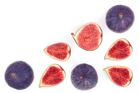 fig fruits isolated on white background with copy space for your text. Top view. Flat lay pattern. Imagens