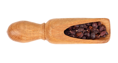 dry red barberry spices on scoop isolated on a white background. Top view. Flat lay