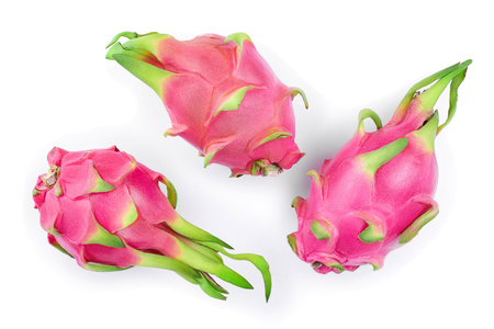 Ripe Dragon fruit, Pitaya or Pitahaya isolated on white background, fruit healthy concept. Top view. Flat lay.