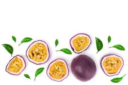 passion fruits with leaves isolated on white background with copy space for your text. Isolated maracuya. Top view. Flat lay. Stok Fotoğraf