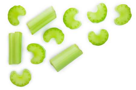fresh celery isolated on white background with copy space for your text.Top view. Flat lay Stock Photo