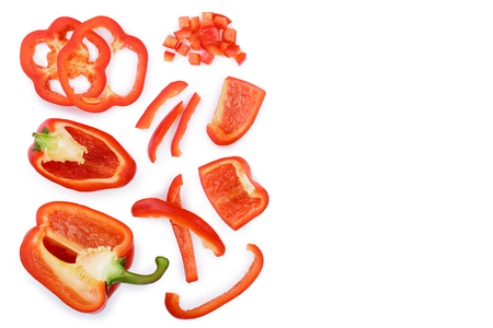 red sweet bell pepper isolated on white background with copy space for your text. Top view. Flat lay Banco de Imagens