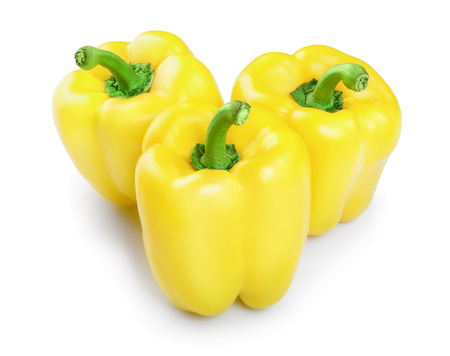 yellow sweet bell pepper isolated on white background Фото со стока
