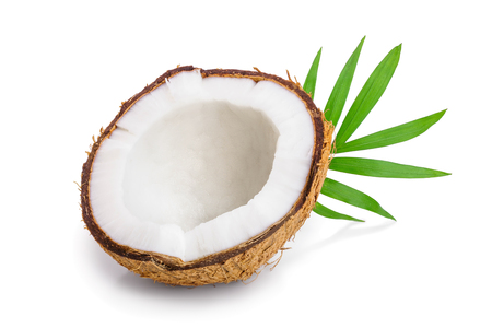 half of coconut with leaves isolated on white background