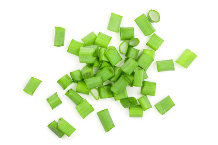 Chopped fresh green onions isolated on white background. Top view. Reklamní fotografie