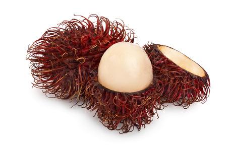 rambutan isolated on white background. Tropical fruit. Nephelium lappaceum. Stock Photo