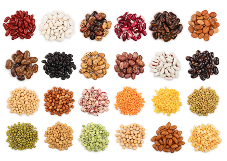 mix legumes isolated on white background. Top view. Flat lay Stock Photo