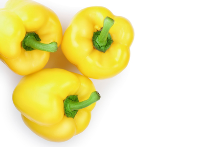 yellow sweet bell pepper isolated on white background with copy space for your text. Top view. Flat lay Stock fotó