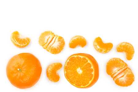 tangerine or mandarin isolated on white background with copy space for your text. Top view. Flat lay.