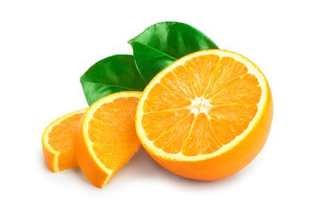 orange fruit half with leaves isolated on white background