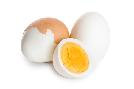 boiled egg and half isolated on white background.