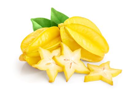 Carambola or star-fruit isolated on white background