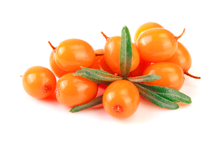 Sea buckthorn. Fresh ripe berry with leaves isolated on white background macro Stock Photo