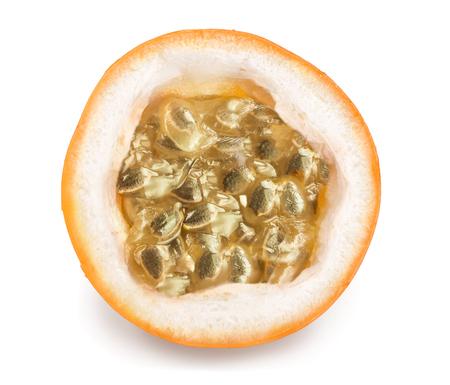 Granadilla or yellow passion fruit half isolated on white background