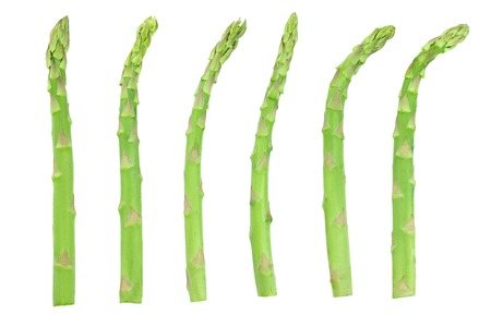 Fresh sprouts of asparagus isolated on white background. Top view. Set or collection Stock fotó