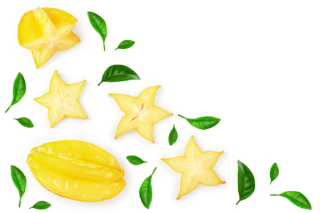 Carambola or star-fruit isolated on white background. Top view. Flat lay
