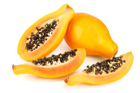 ripe cut papaya isolated on a white background Archivio Fotografico