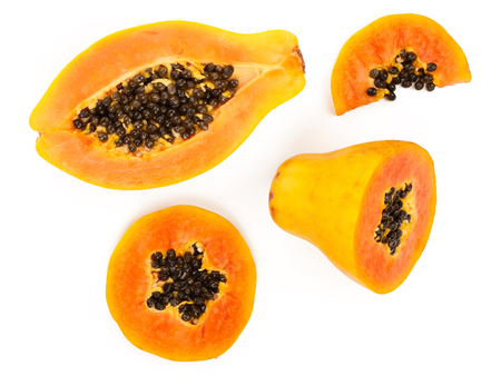 ripe slice papaya isolated on a white background. Top view. Flat lay Stock fotó