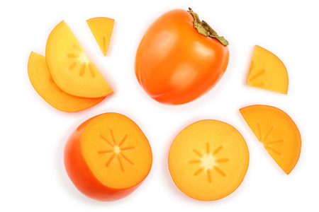 persimmon fruit isolated on white background. Top view. Flat lay pattern