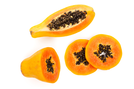 ripe slice papaya isolated on a white background. Top view. Flat lay 版權商用圖片