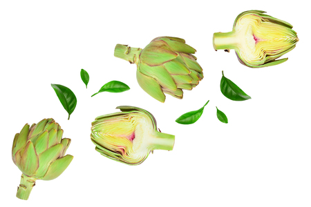 Fresh Artichokes and half isolated on white background with copy space for your text. Top view. Flat lay, Standard-Bild