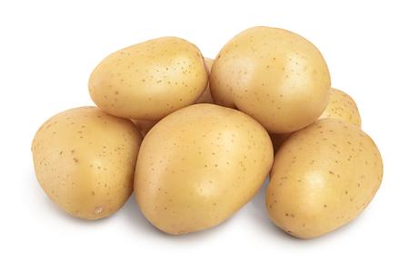 Młody ziemniak na białym tle. Nowe żniwa Zdjęcie Seryjne
