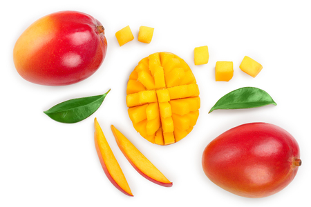 Mango fruit and half with slices isolated on white background. Top view. Flat lay Reklamní fotografie