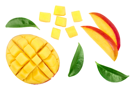 Mango fruit half with slices isolated on white background. Set or collection. Top view. Flat lay.