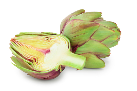 Fresh Artichokes and half isolated on white background closeup.