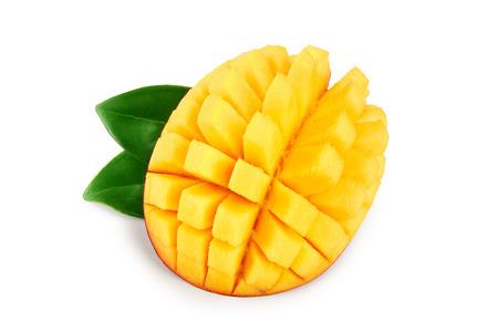 Mango fruit half with leaves isolated on white background close-up