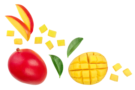 Mango fruit and half with slices isolated on white background with copy space for your text. Top view. Flat lay