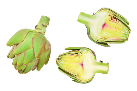 Fresh Artichokes and half isolated on white background closeup. Top view. Flat lay,