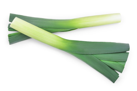 Leek vegetable closeup isolated on white background. Top view. Flat lay