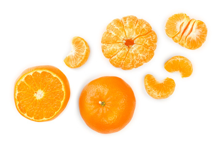 tangerine or mandarin isolated on white background. Top view. Flat lay. Stok Fotoğraf - 123032711