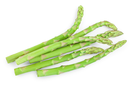 Fresh sprouts of asparagus isolated on white background. Top view. Flat lay. Stock fotó
