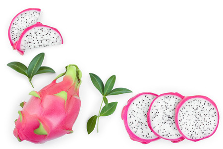 Dragon fruit, Pitaya or Pitahaya isolated on white background with copy space for your text. Top view. Flat lay.