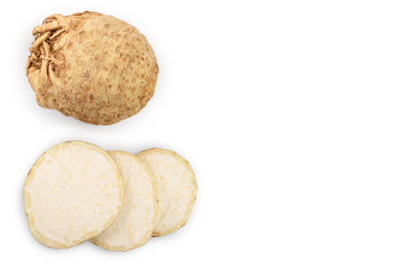 Fresh celery root isolated on white background. Top view. Flat lay