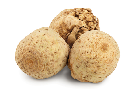 Fresh celery root isolated on white background.