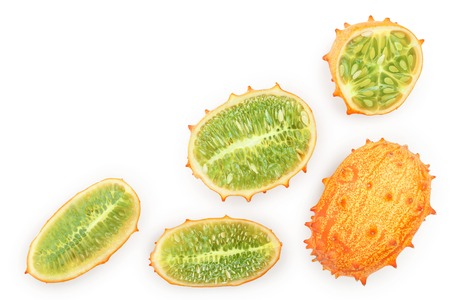 Kiwano or horned melon isolated on white background with copy space for your text. Top view. Flat lay.