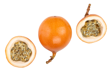 Granadilla or yellow passion fruit isolated on white background. Top view. Flat lay Archivio Fotografico