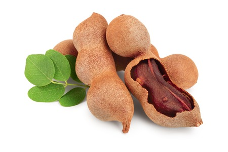 Tamarind fruit with leaf isolated on white background